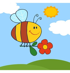 Happy Bee Flying With Flower In Sky vector image vector image