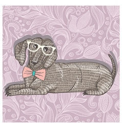 Hipster dachshund with glasses vector image