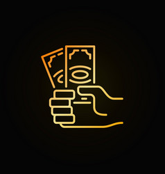 Money in hand golden icon vector