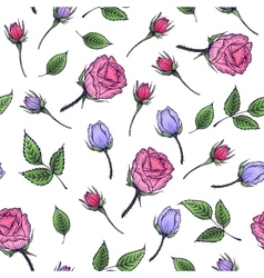 Seamless floral pattern with rose and leaf vector image vector image