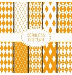 Set of geometric yellow orange seamless pattern vector image