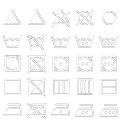 Set of monochrome icons with laundry symbols vector