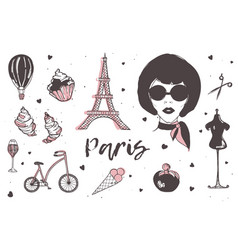 Set of paris and france elements - stylish vector