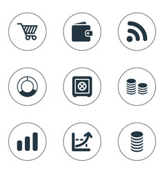 set of simple finance icons elements earnings vector image