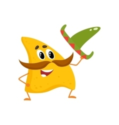 Smiling nachos with thick moustache and mexican vector