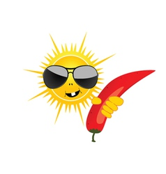 sun with chillies vector image