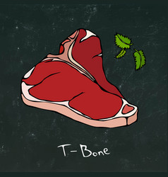 T-bone steak cut isolated on chalkboard vector