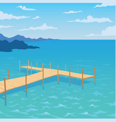 Tropical ocean landscape with wooden dock vector