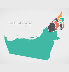 United arab emirates map with states and modern vector