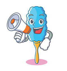 With megaphone feather duster character cartoon vector