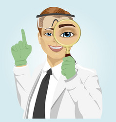 Young doctor with magnifying glass vector
