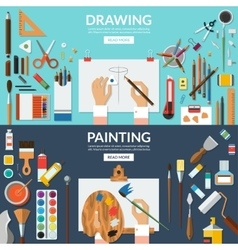 Drawing and painting conceptual banners set vector