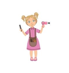 Girl dressed as hairdresser holding a hairdryer vector