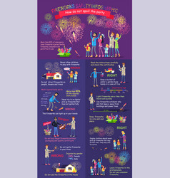 Instruction how to display firework safety rules vector