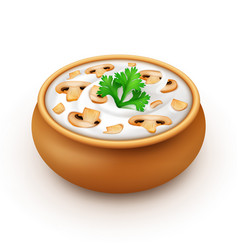 Ceramic pot of sauce with parsley and champignons vector