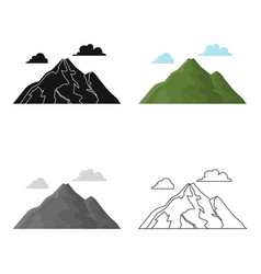 Mountain icon in cartoon style for web vector