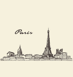 paris skyline france hand drawn vector image