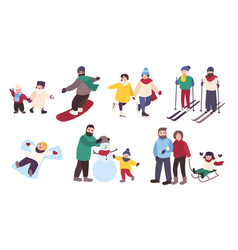 Set of winter games different people vector