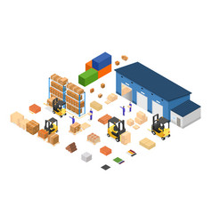 Exterior warehouse building business delivery vector