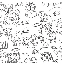 Seamless pattern of cute cats vector image