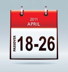 passover calendar 2011 vector image