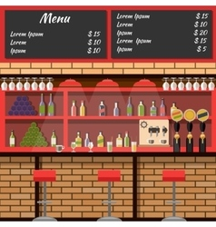 Interior of the bar with board menu vector