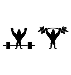 Sportsman lifting heavy barbell silhouette vector