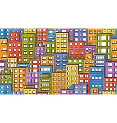 Seamless houses doodle vector