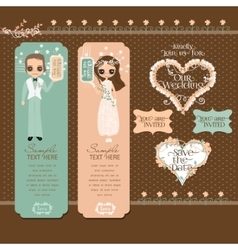 Romantic couple labels set vector