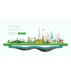 Flat design banner header with world vector