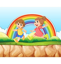 Boy and girl running on the cliff vector image