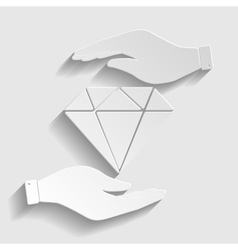 Diamond sign paper style icon vector