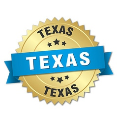 Texas round golden badge with blue ribbon vector