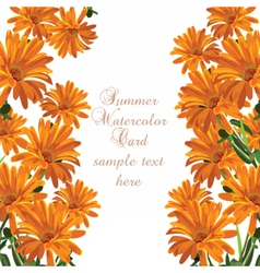 Beautiful Watercolor Cream Yellow flowers card vector image
