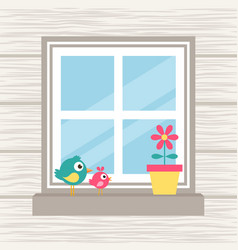 Birds flower and window on the wood background vector