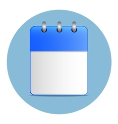 Blank white sheet of calendar in blue color vector