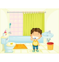 Brushing boy vector image vector image