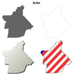 Butte county california outline map set vector
