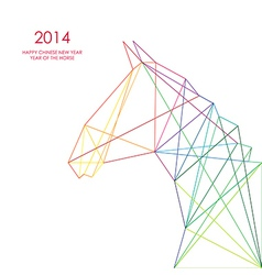 Chinese new year of the horse triangle lines vector