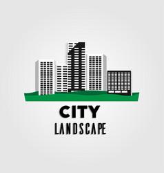 city urban landscape flat long shadow vector image