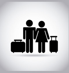 Couple with travel suitcases vector