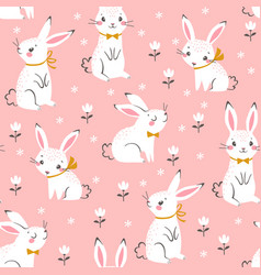 Cute white bunnies pattern vector