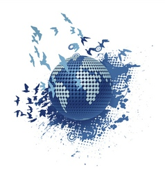 globe with grunge vector image