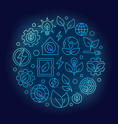 Green energy outline blue vector