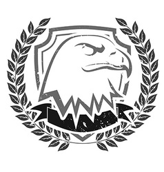 Grunge eagle head emblem vector image