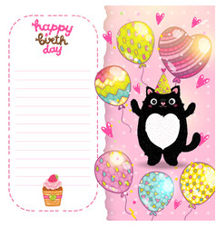Happy Birthday card background with a cat vector image