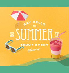 Hello summer on beach vector