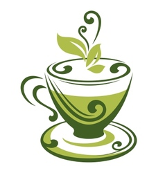 icon of green tea cup vector image vector image