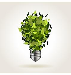 Light bulb of green leaves vector image
