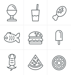 Line Icons Style Food Icons Set Design vector image vector image